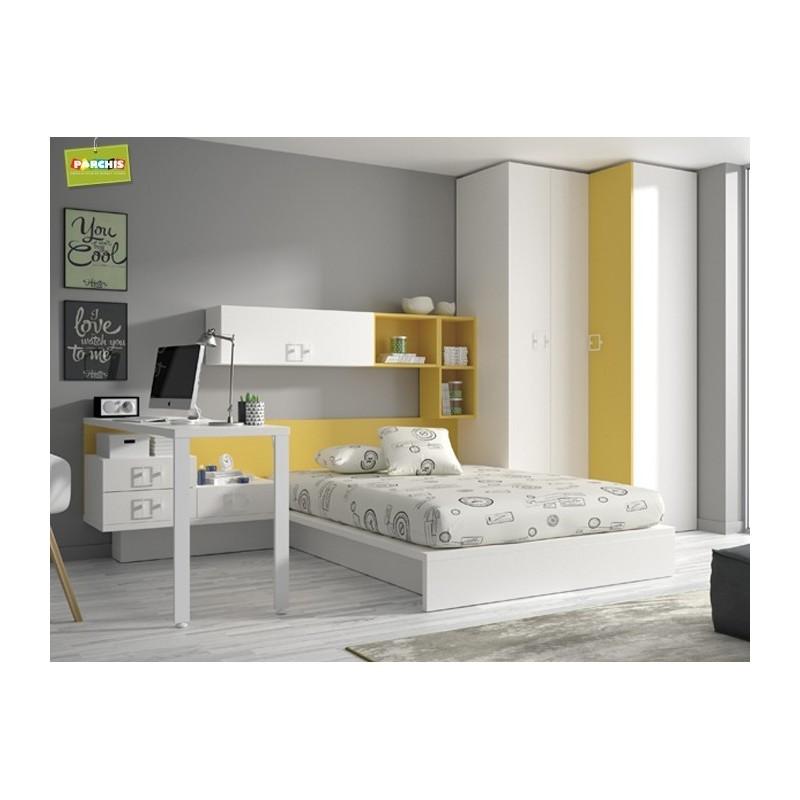 Muebles juveniles para chicos habitaciones modulares con for Camas para habitaciones juveniles