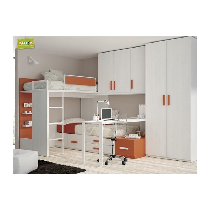 Camas tipo tren literas fijas muebles juveniles con - Habitaciones juveniles con cama abatible ...
