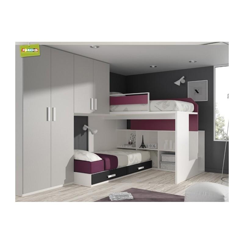 Camas tipo tren literas fijas mobiliario juvenil de dise o - Habitaciones modulares juveniles ...