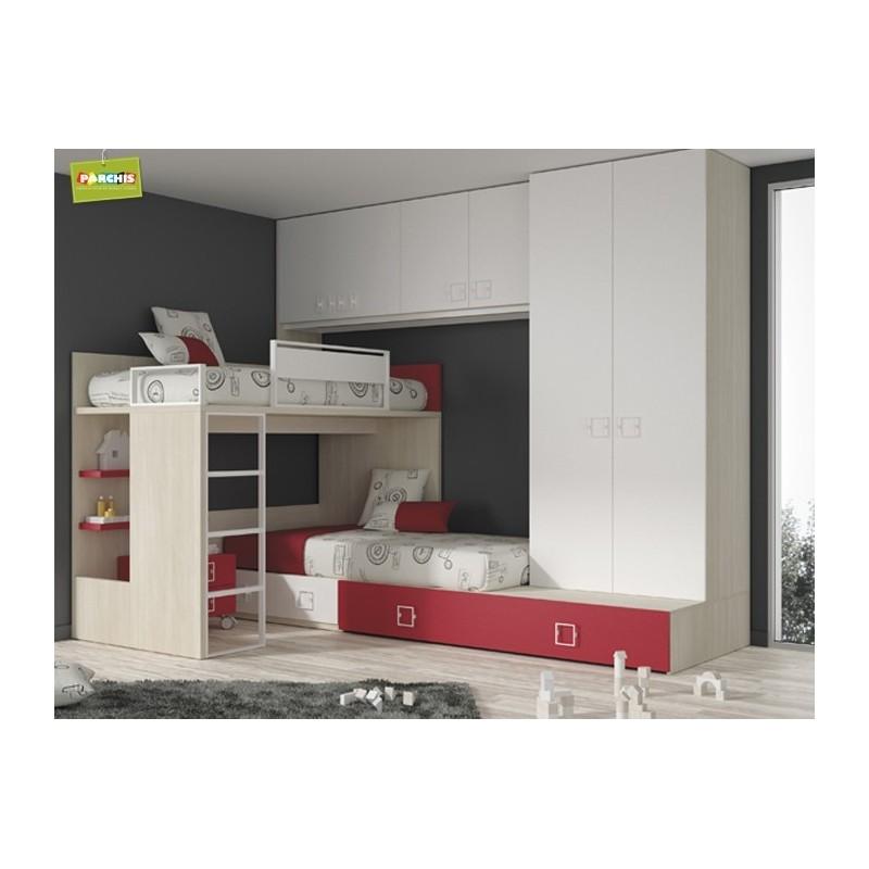 Camas tipo tren literas fijas for Dormitorios juveniles con cama grande