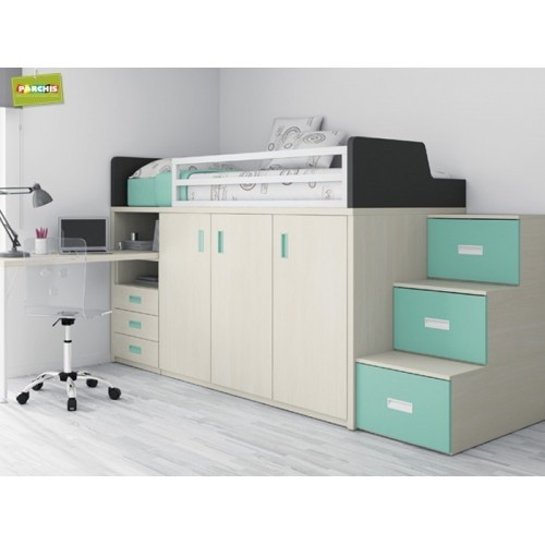 Camas tipo tren literas fijas muebles juveniles con for Dormitorios juveniles modernos precios
