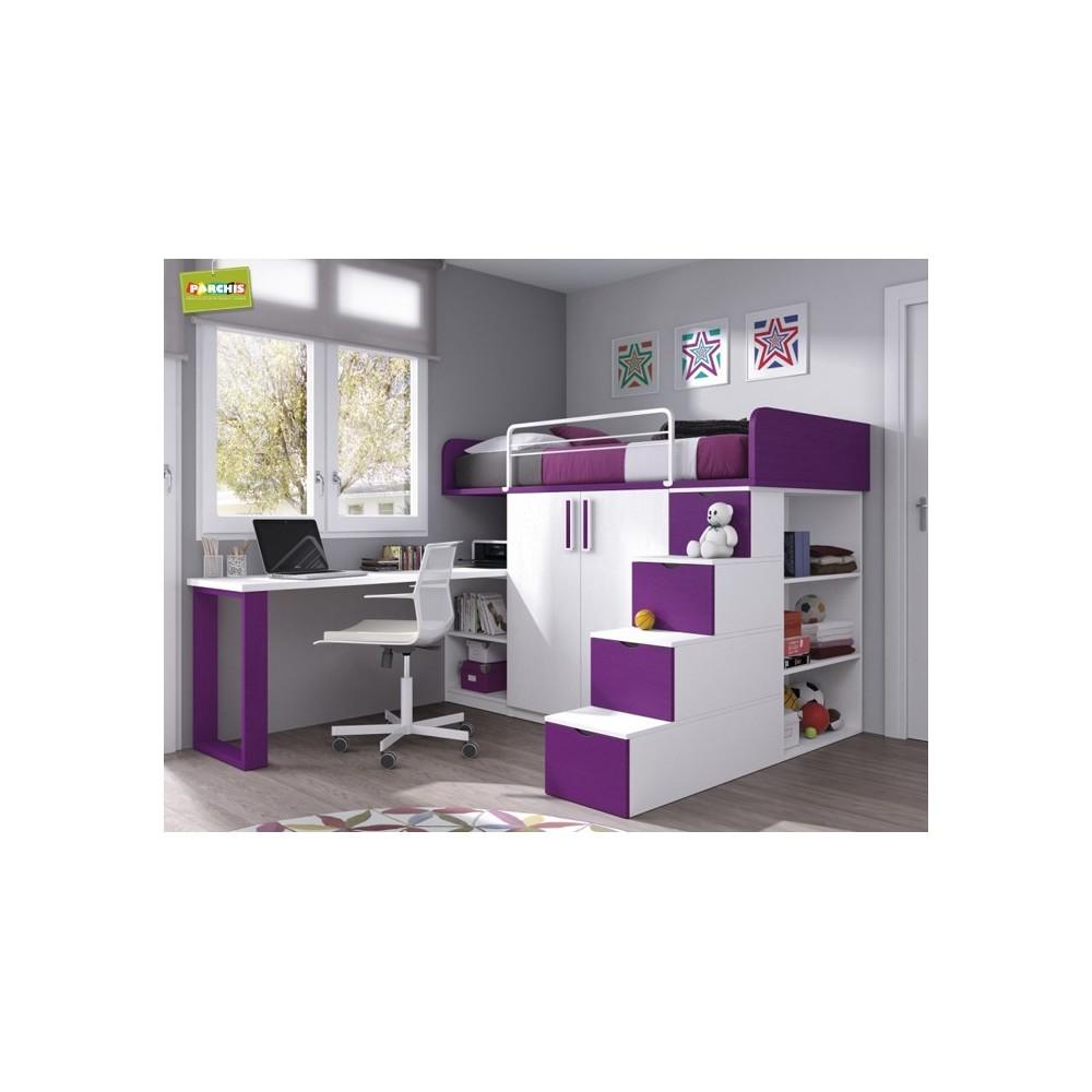 Literas fijas camas bloque for Muebles modulares juveniles