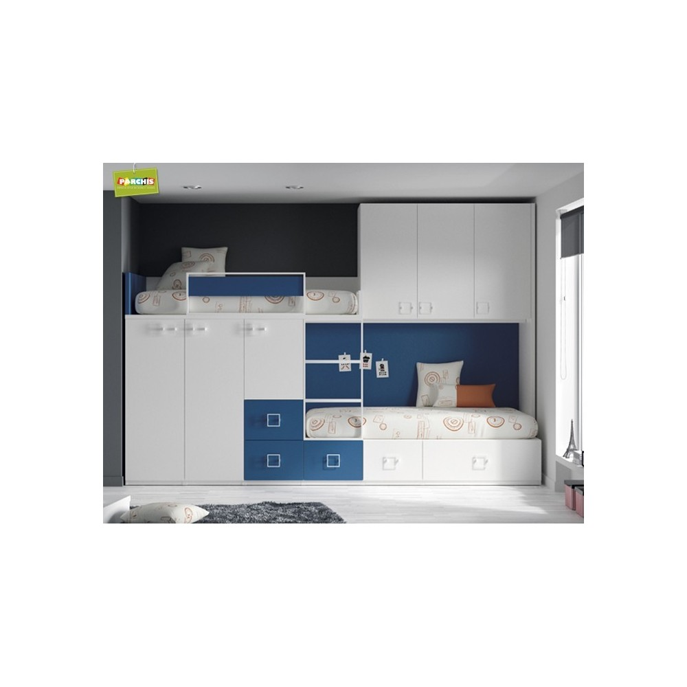 Literas fijas camas bloque literastipotren muebles cama - Camas juveniles altas ...