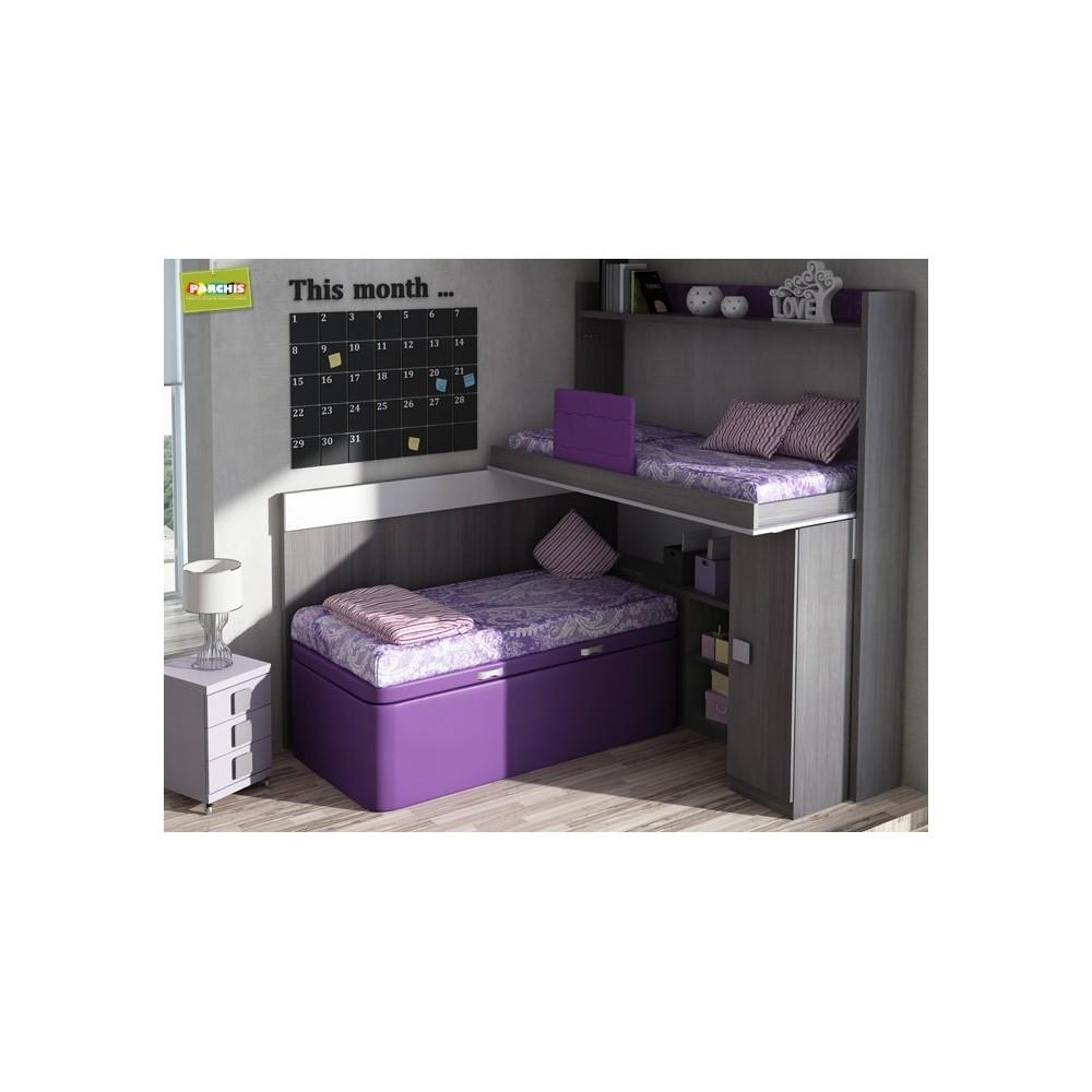 Literas fijas camas bloque for Dormitorios juveniles abatibles