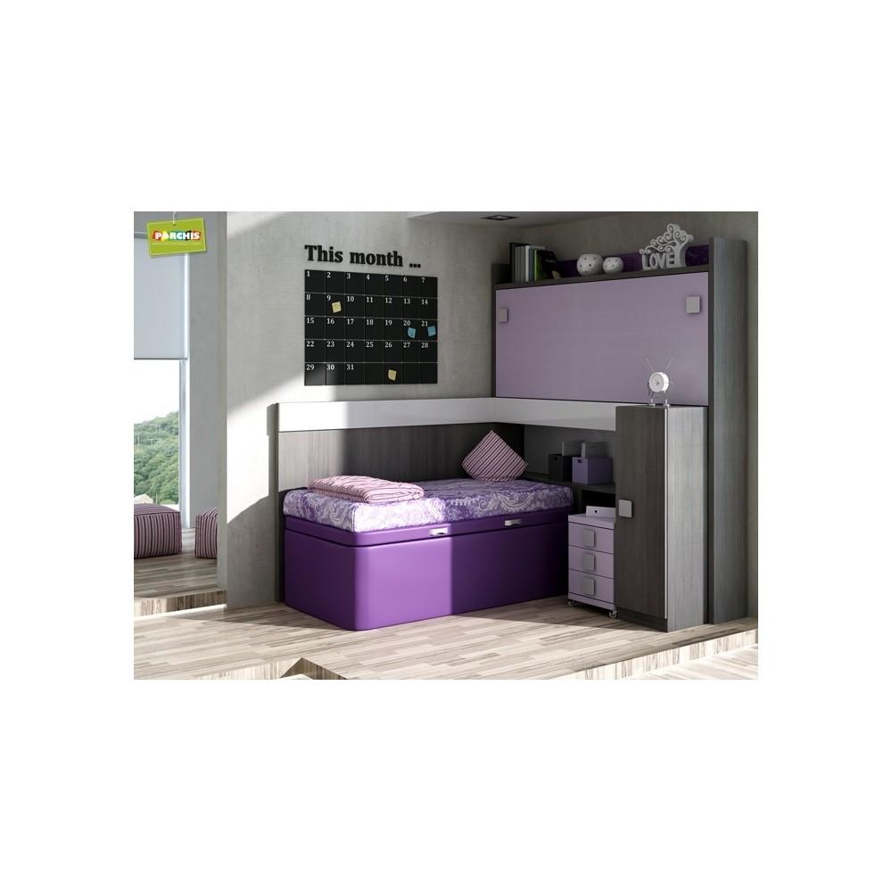 Literas fijas camas bloque for Dormitorio juvenil cama alta