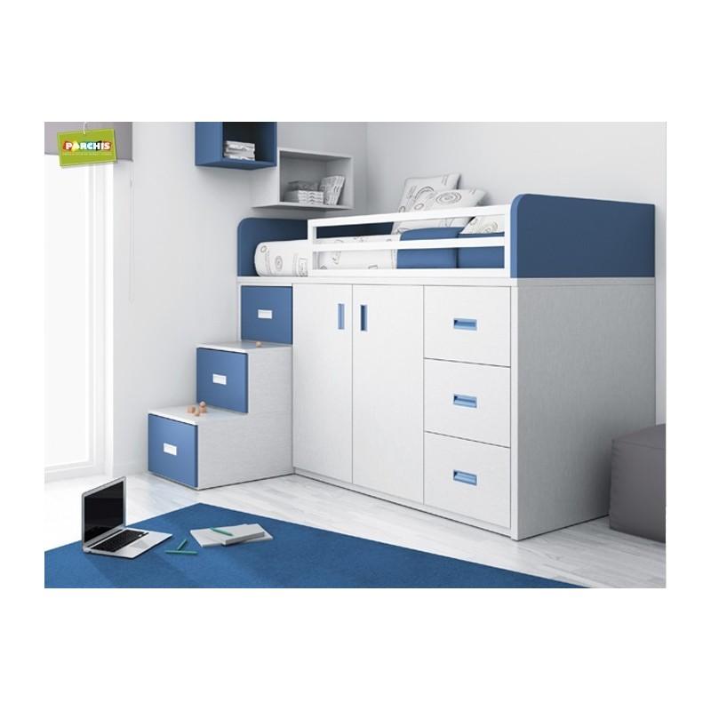 Muebles infantiles con camas tren cama alta con armarios for Camas compactas juveniles con cajones