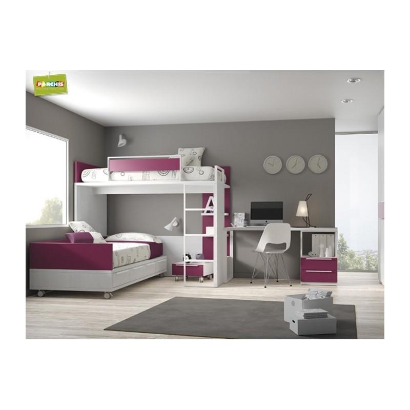 Muebles juveniles con camas tren cruzadas camas compactas cruzadas - Cama tipo tren ...