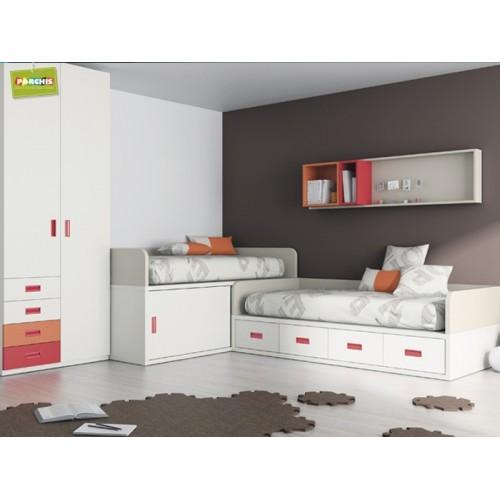 Infantiles dos camas infantiles dos camas en l with for Dormitorios juveniles dos camas en l