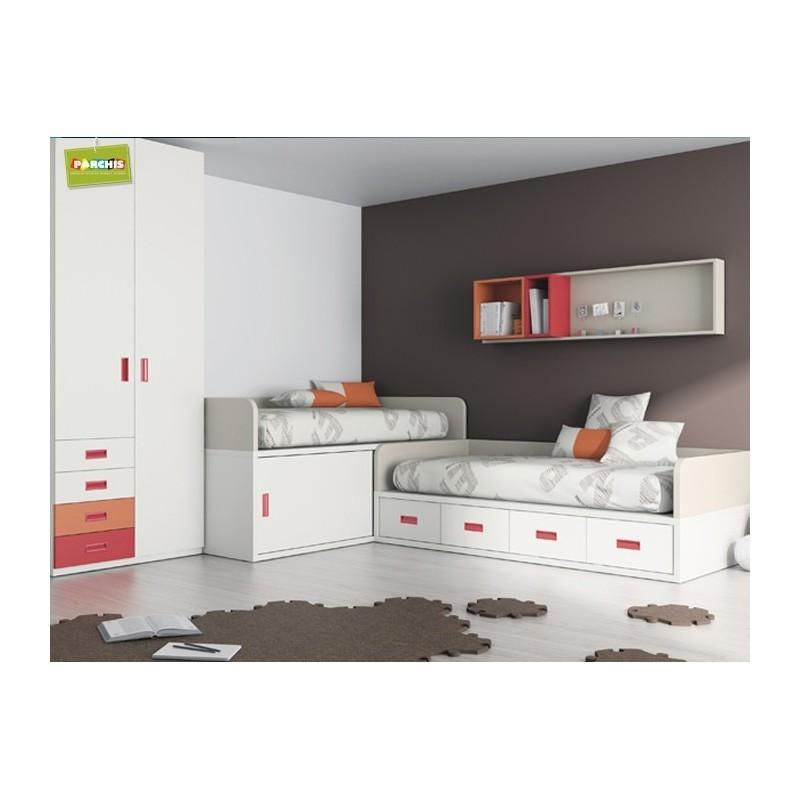 Como amueblar un dormitorio juvenil tienda muebles - Dormitorios infantiles dos camas ...