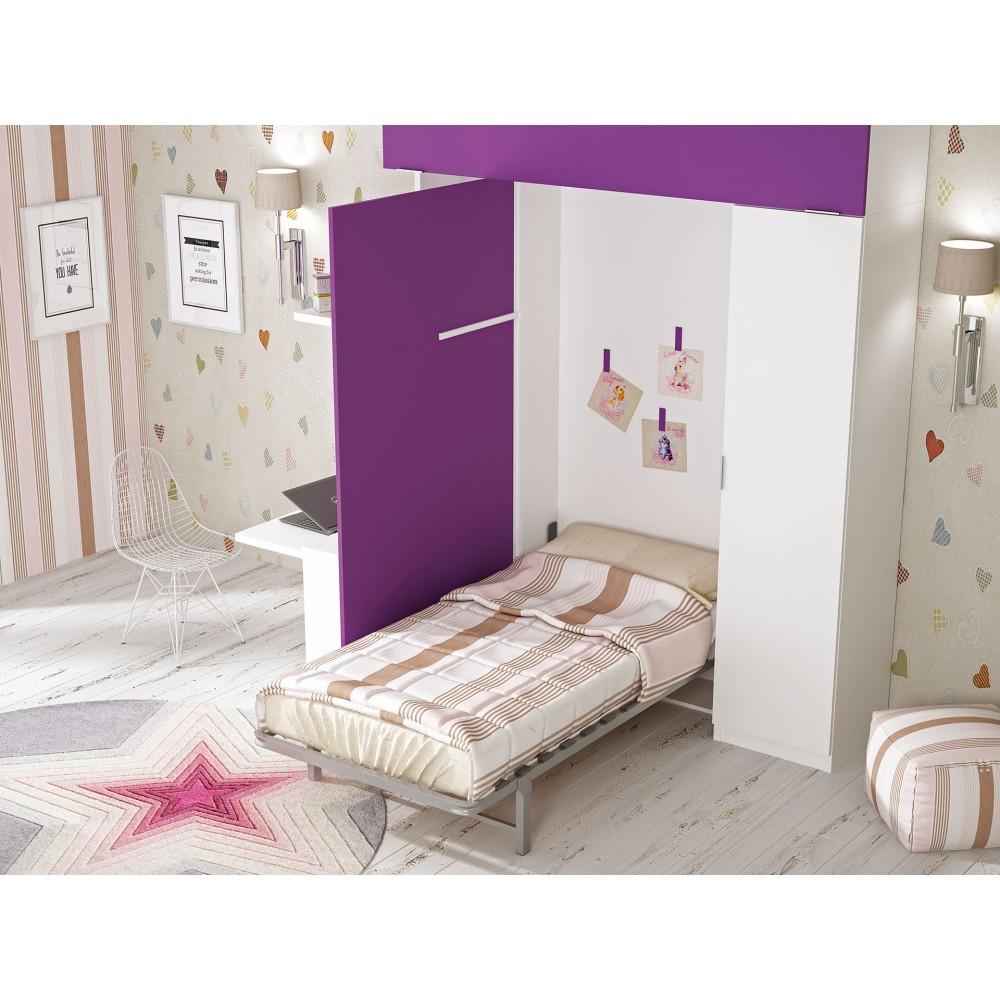 Camas abatibles econ micas mueble cama horizontal de for Cama escondida en mueble