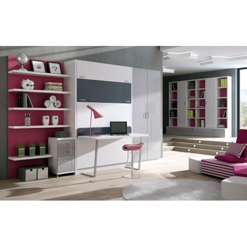 Dormitorios con camas abatibles dormitorios individuales for Dormitorios juveniles camas abatibles con escritorio