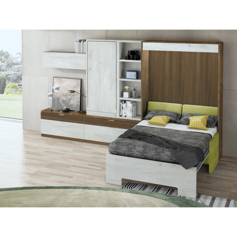 Dormitorios con Camas Abatibles Horizontales con Biblioteca