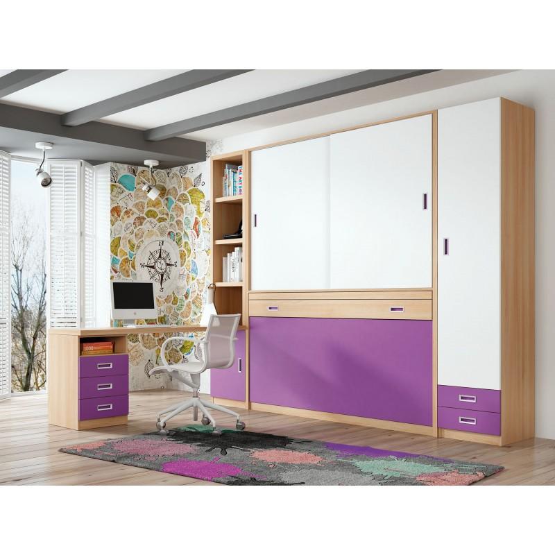 Camas abatibles con mesa para ni os peque os - Habitaciones juveniles camas abatibles horizontales ...