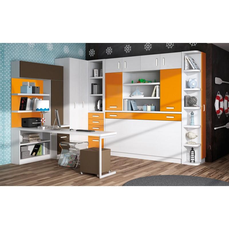 Dormitorios con Camas Abatibles Verticales con Mesa