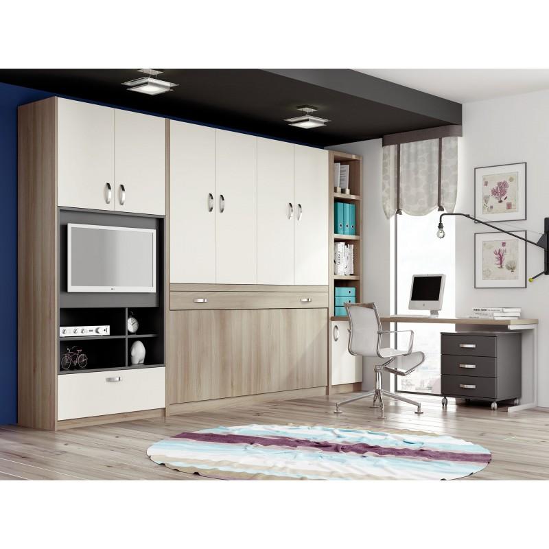 Camas verticales abatibles con mesa mueble cama plegable for Dormitorios juveniles camas abatibles con escritorio