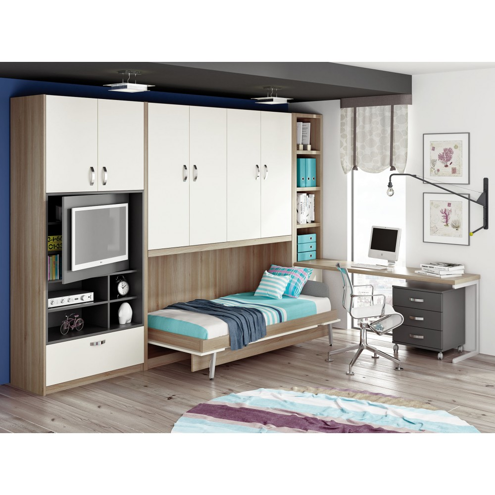 Camas verticales abatibles con mesa mueble cama plegable de 105 - Camas plegables de pared ...