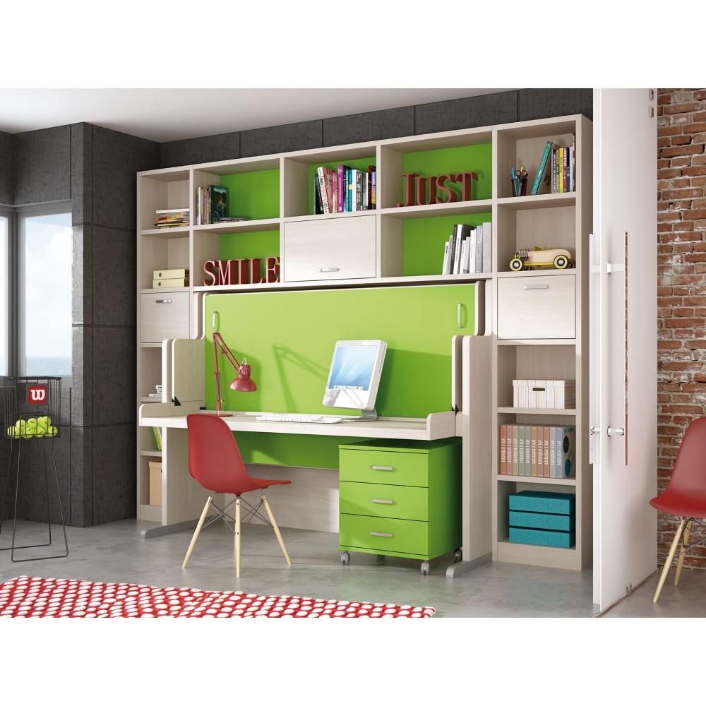 Mueble cama horizontal abatibles muebles cama en madrid for Dormitorios juveniles camas abatibles con escritorio