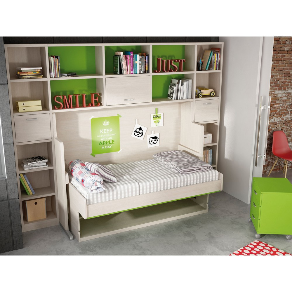 Mueble cama horizontal abatibles muebles cama en madrid for Mueble cama abatible vertical matrimonio
