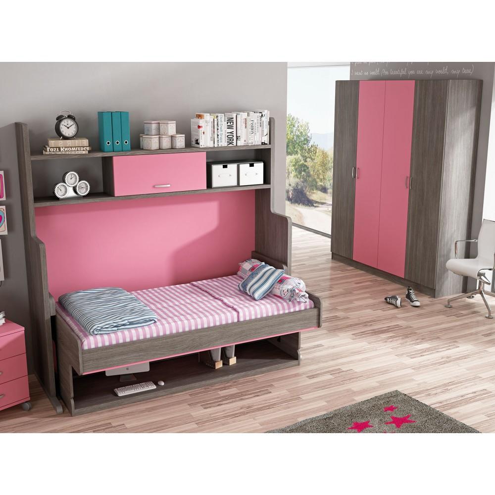 Cama de matrimonio abatible en horizontal muebles cama pared - Camas abatibles 135 ...