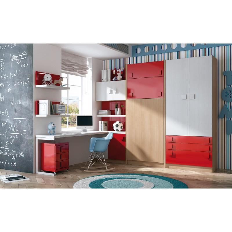 Dormitorios con literas abatibles horizontales for Dormitorios juveniles camas abatibles con escritorio