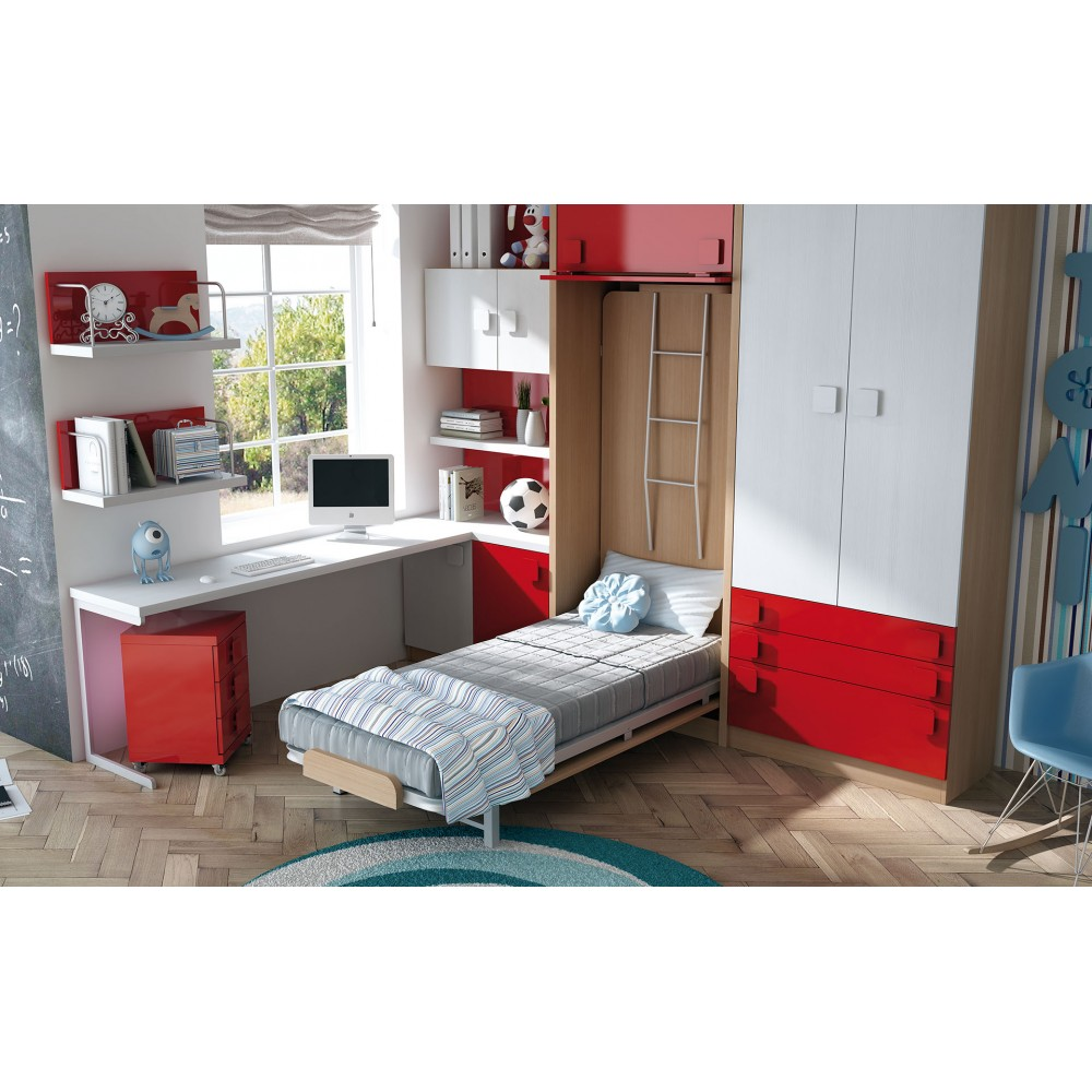 Dormitorios con literas abatibles horizontales for Camas de 1 05 juveniles