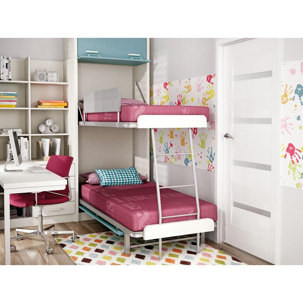 Dormitorios con literas abatibles sentido horizontal - Literas plegables verticales ...