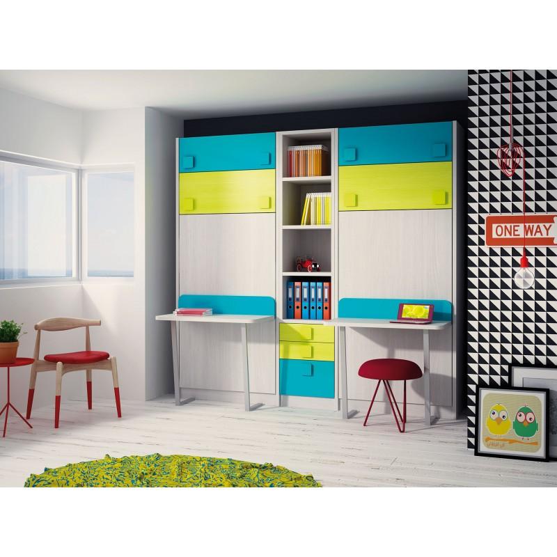 Dormitorios con literas abatibles verticales dobles for Dormitorios juveniles literas