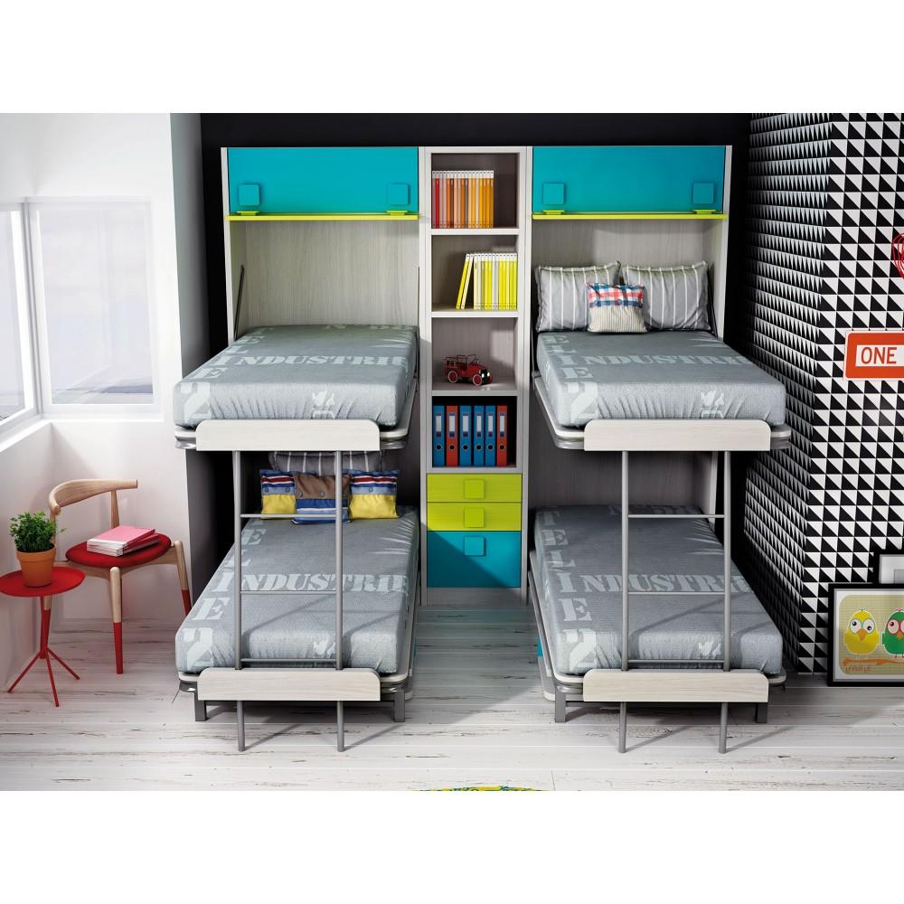 Dormitorios con literas abatibles verticales dobles for Dormitorios juveniles abatibles
