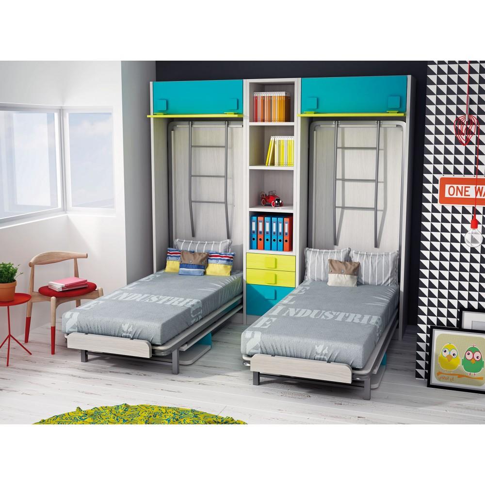 Dormitorios con literas abatibles verticales dobles - Dormitorios juveniles dobles ...
