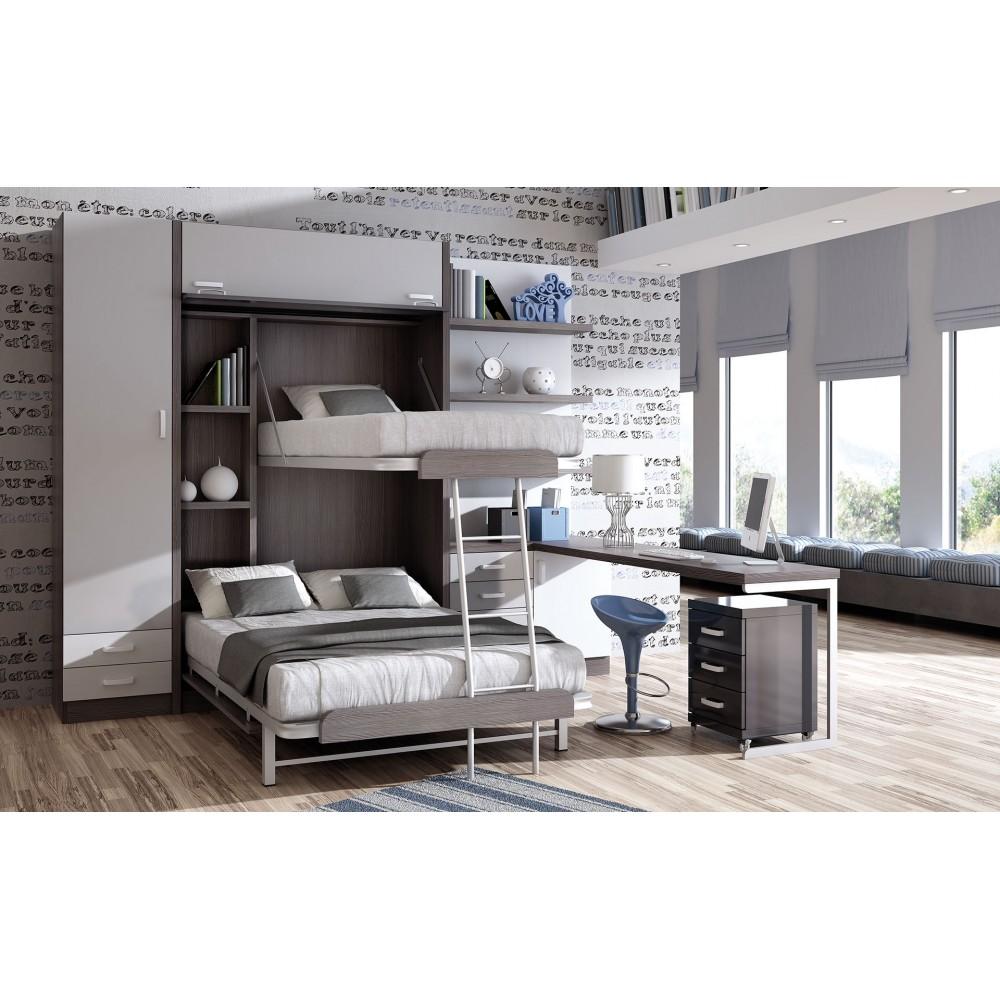 Dormitorios con literas abatibles horizontales independientes - Dormitorios juveniles con camas abatibles horizontales ...
