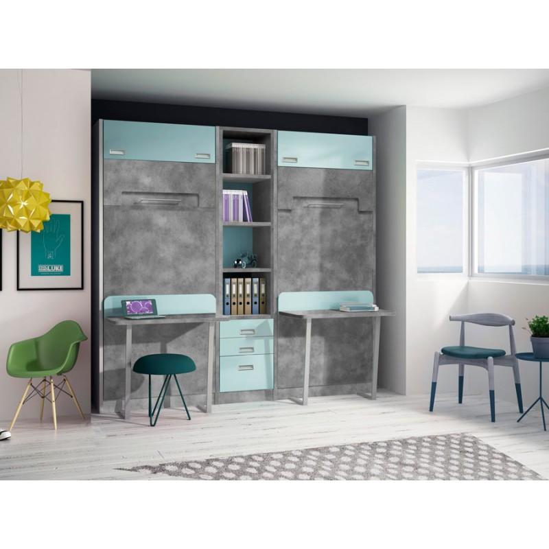 Dormitorios con literas abatibles horizontales dobles - Literas horizontales abatibles ...