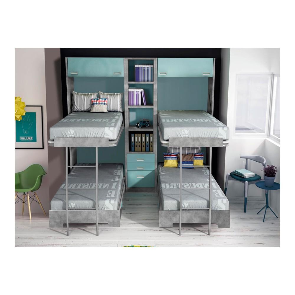 Dormitorios con literas abatibles horizontales dobles - Literas dobles abatibles ...