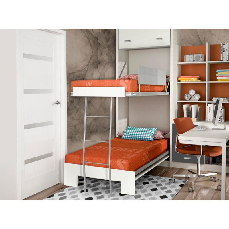 Dormitorios con literas abatibles horizontales para pladur - Camas abatibles literas ...