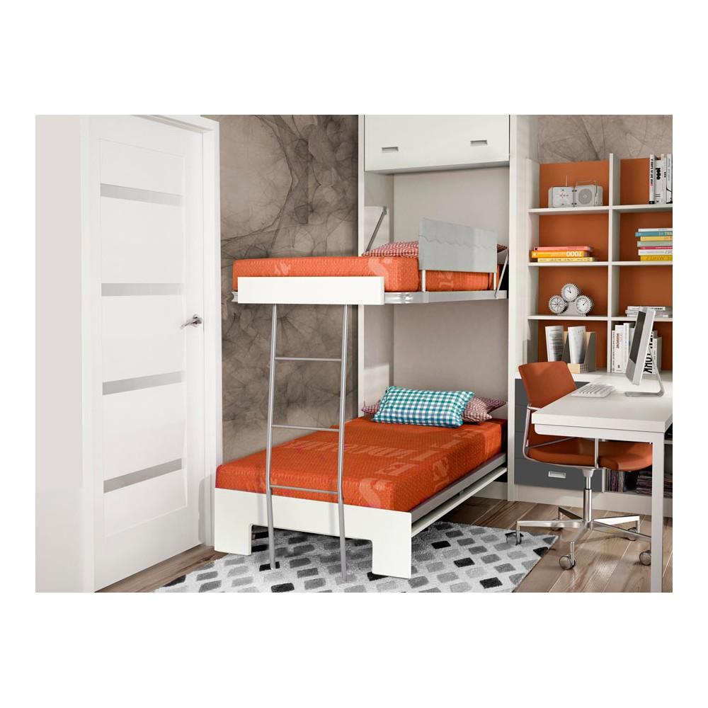 Dormitorios con literas abatibles horizontales para pladur - Cama litera abatible ...