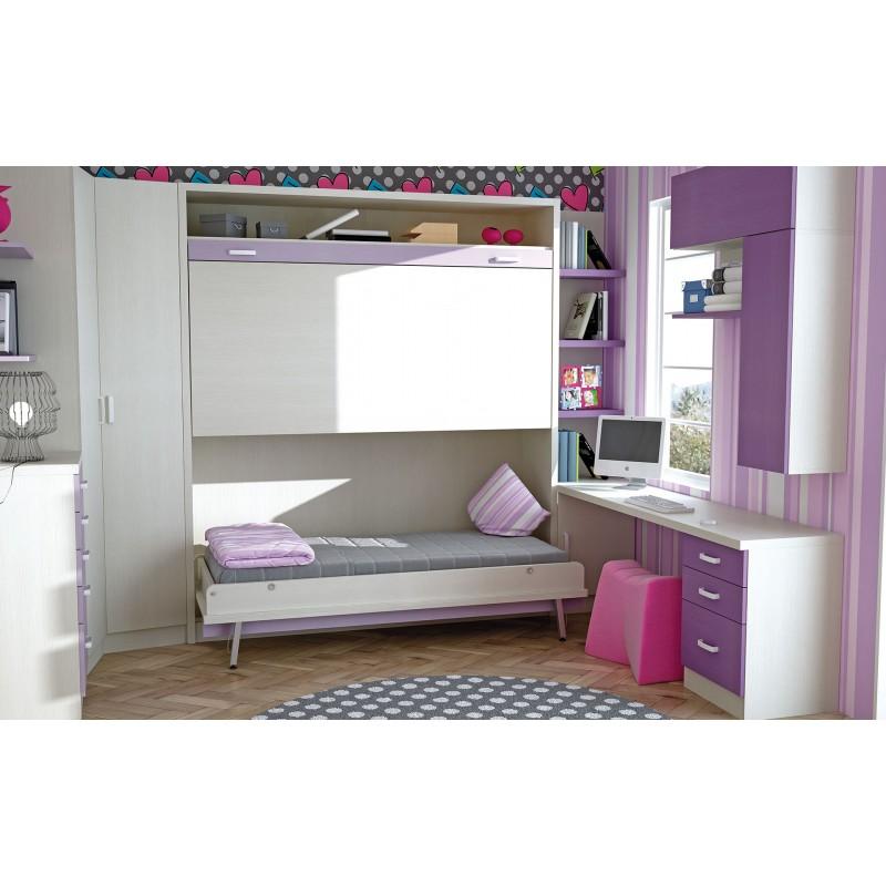Dormitorios con literas abatibles verticales dobles de 90 for Dormitorios con literas