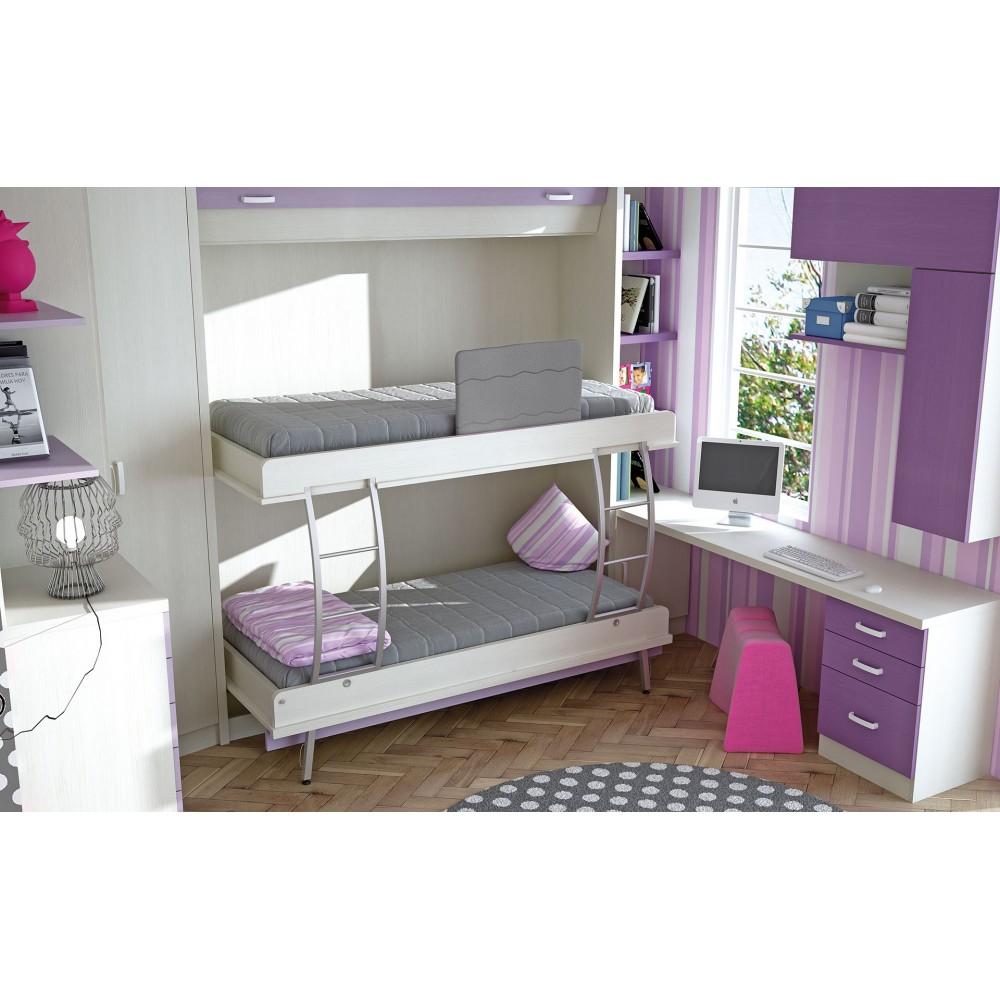 Dormitorios con literas abatibles verticales dobles de 90 - Dormitorios juveniles dobles ...