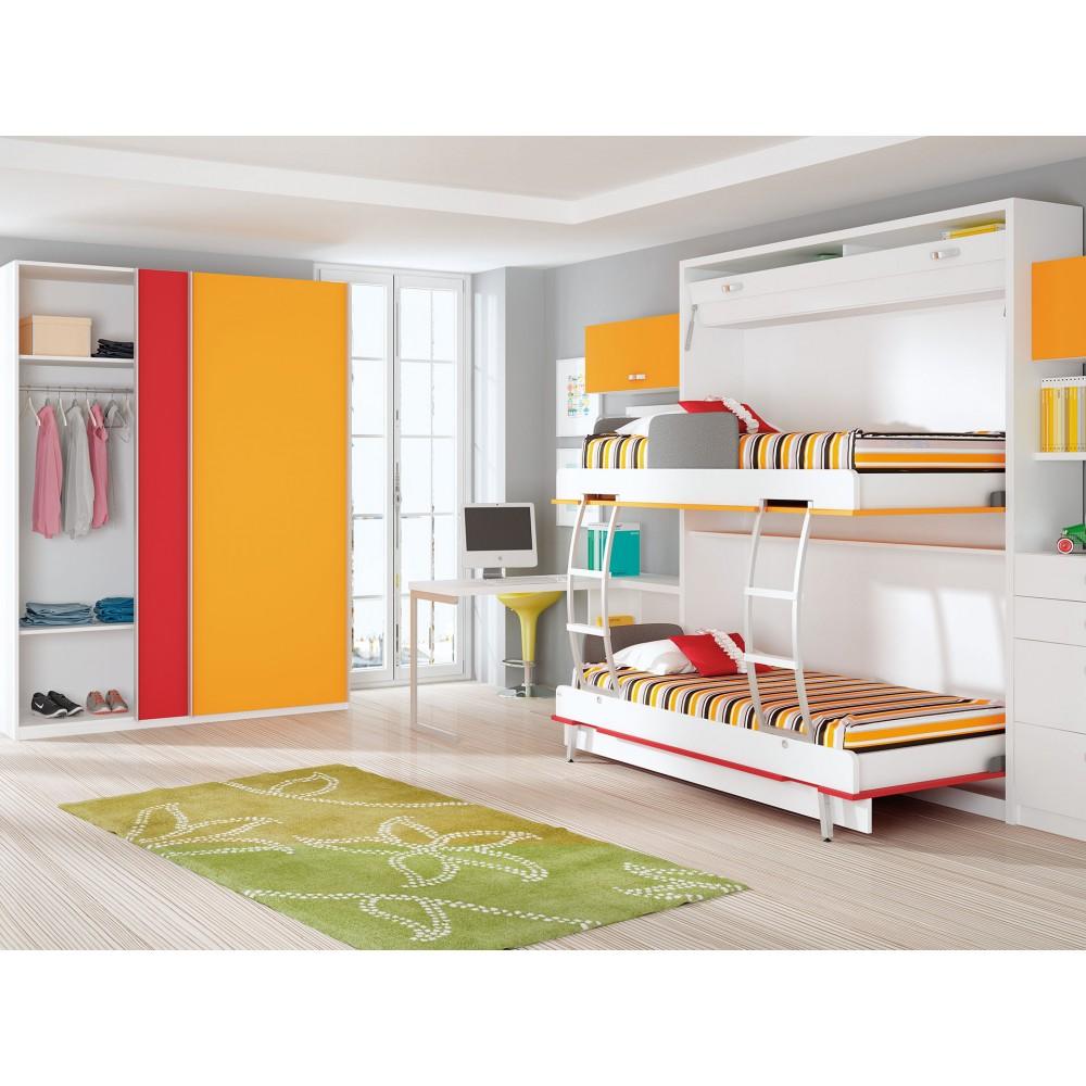 Dormitorios con literas abatibles verticales para chicas for Dormitorios juveniles literas