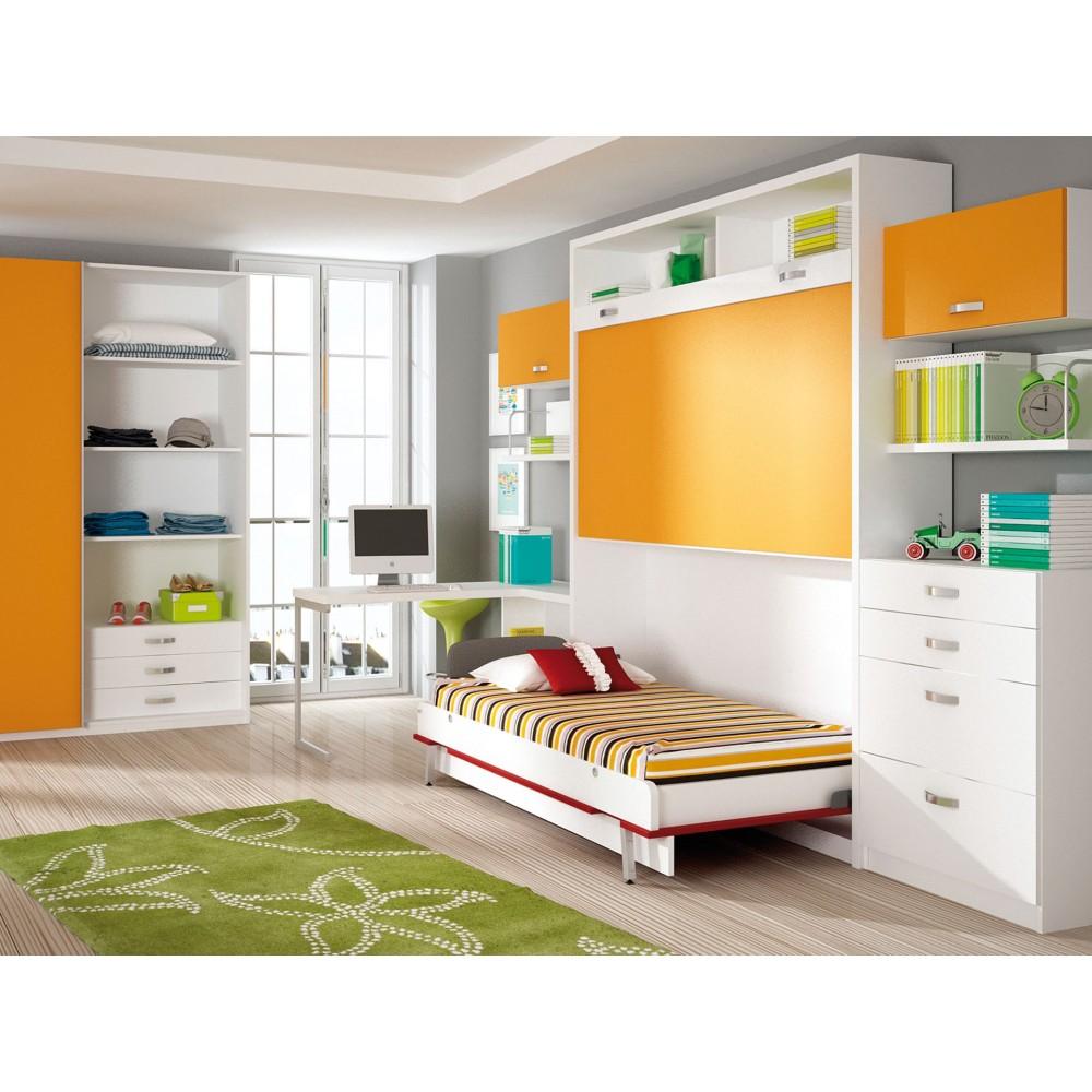 Dormitorios con literas abatibles verticales para chicas - Literas plegables verticales ...