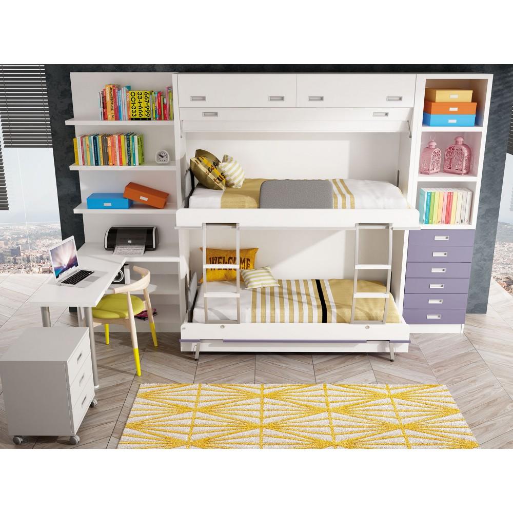 Dormitorios con literas abatibles verticales cuadruples for Camas infantiles dobles