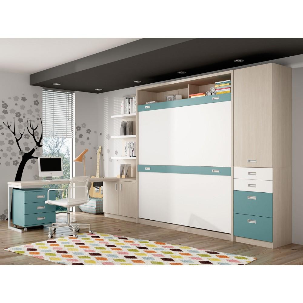 Dormitorios con literas abatibles sentido horizontal de 90 - Habitaciones juveniles camas abatibles horizontales ...