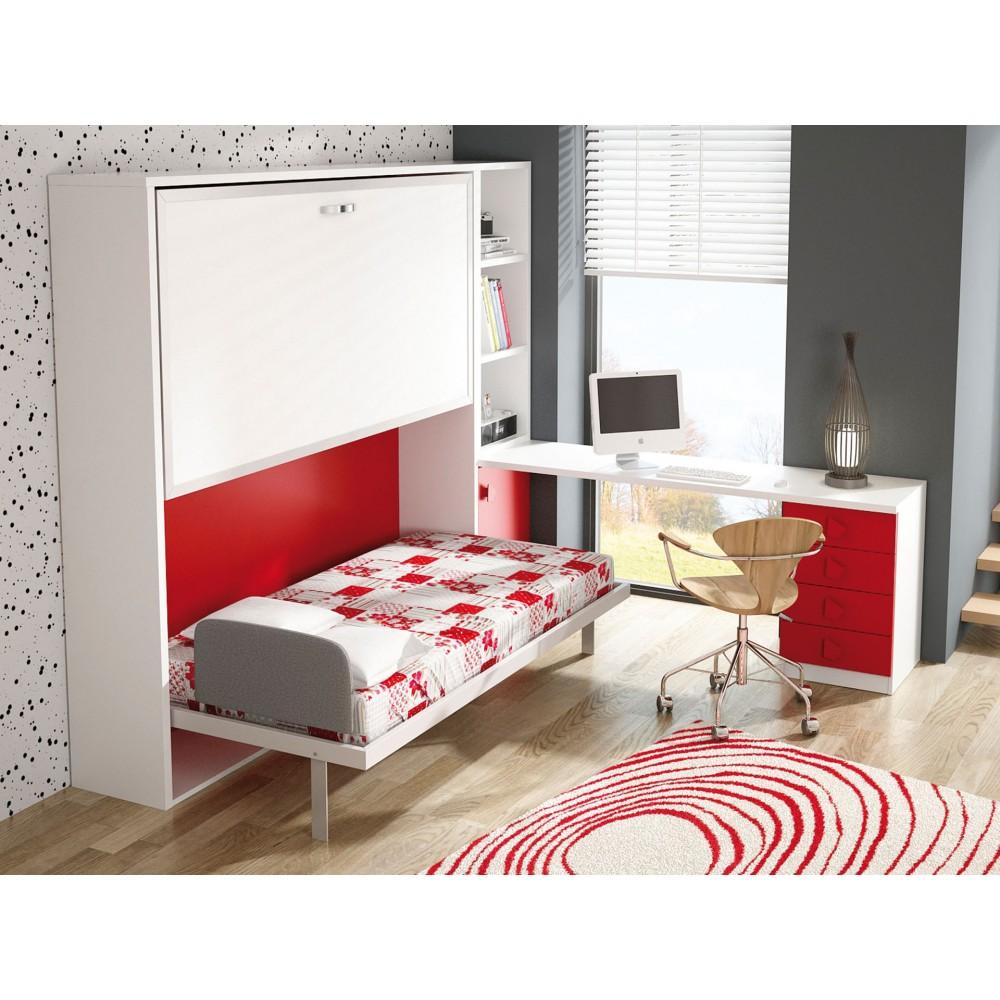 Dormitorios con literas abatibles horizontales de 80 - Habitaciones juveniles camas abatibles horizontales ...