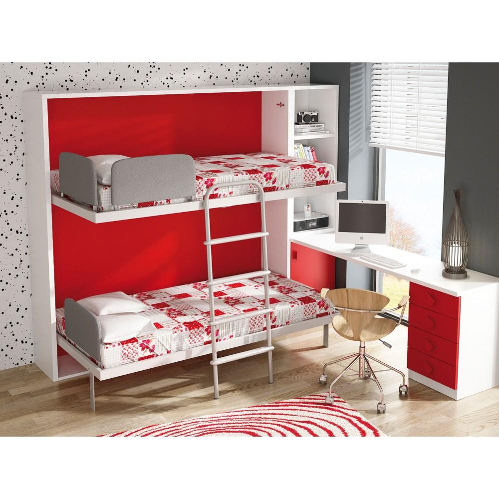Dormitorios con literas abatibles horizontales de 80 for Cama 80x180