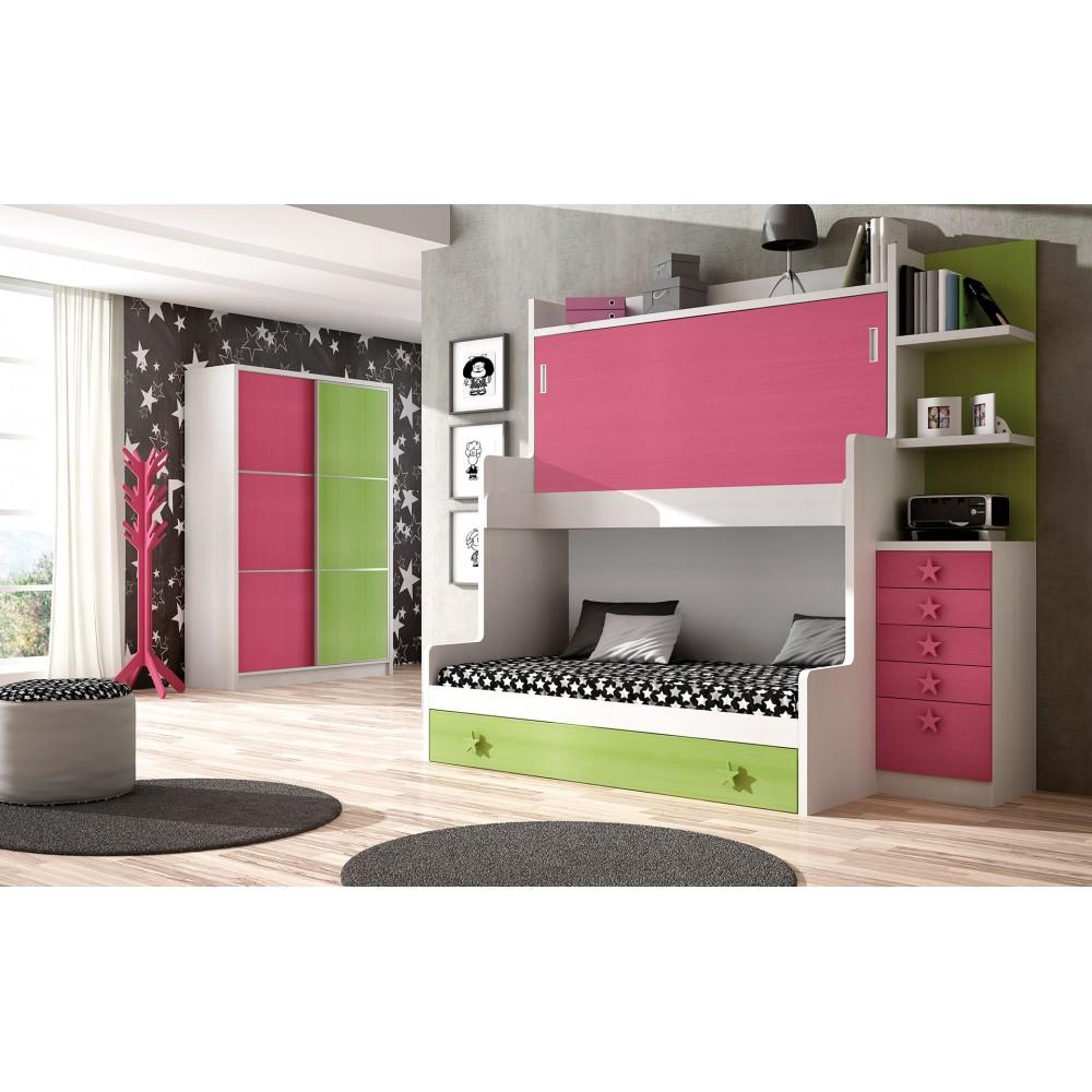 Dormitorio litera triple madrid for Camas triples juveniles