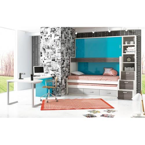 Dormitorio litera triple Barcelona
