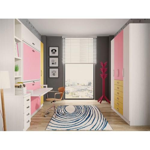 Dormitorio con literas escritorio alba for Dormitorios con literas