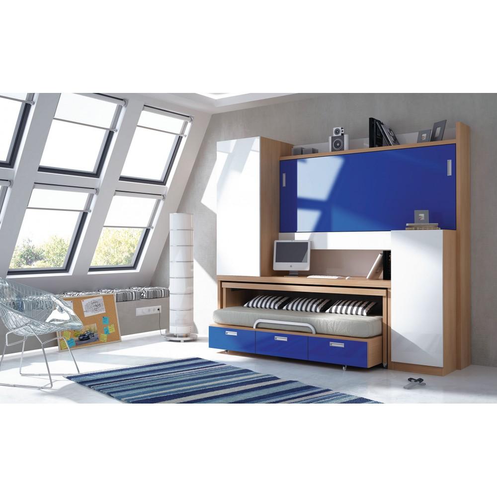 Camas Abatibles Con Sofa #5: Dormitorio-con-literas-escritorio-alba.jpg
