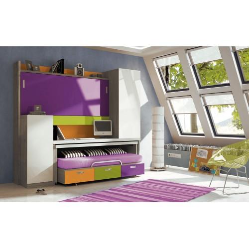 Dormitorio con literas escritorio Azucena