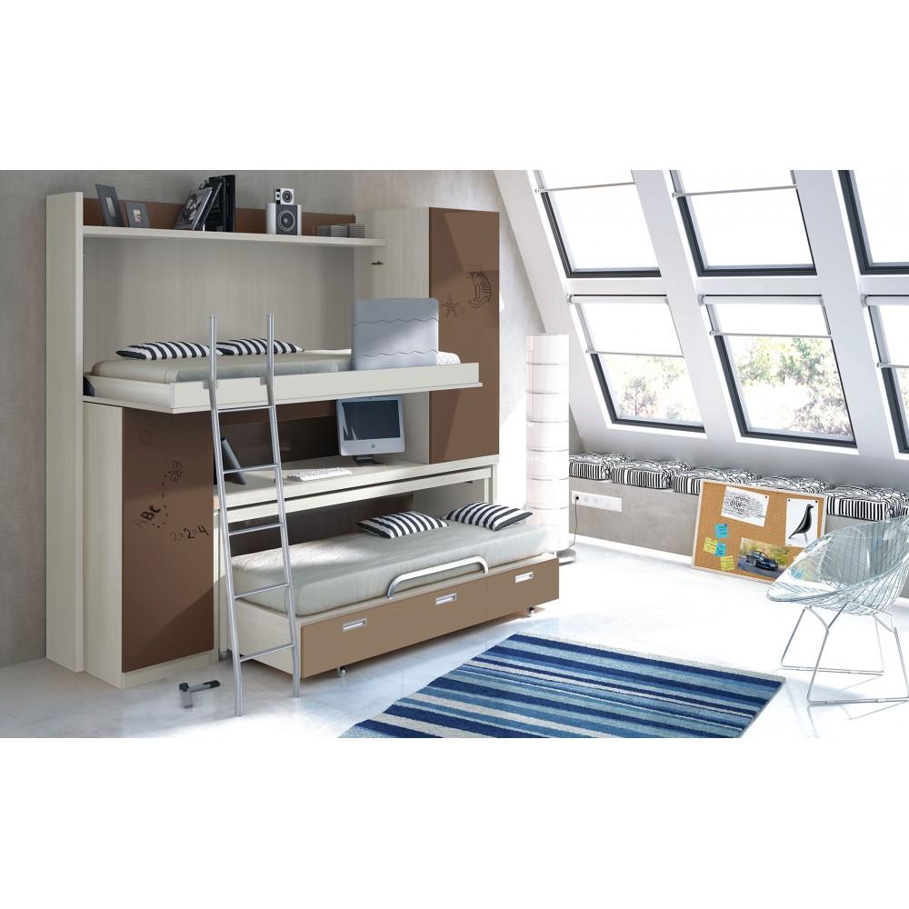Dormitorio con literas escritorio noelia for Dormitorios con literas