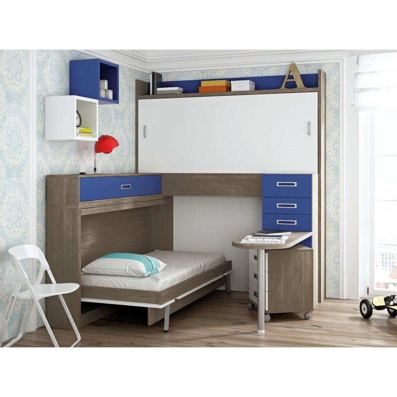 Dormitorio con literas escritorio miriam for Dormitorios juveniles con escritorio