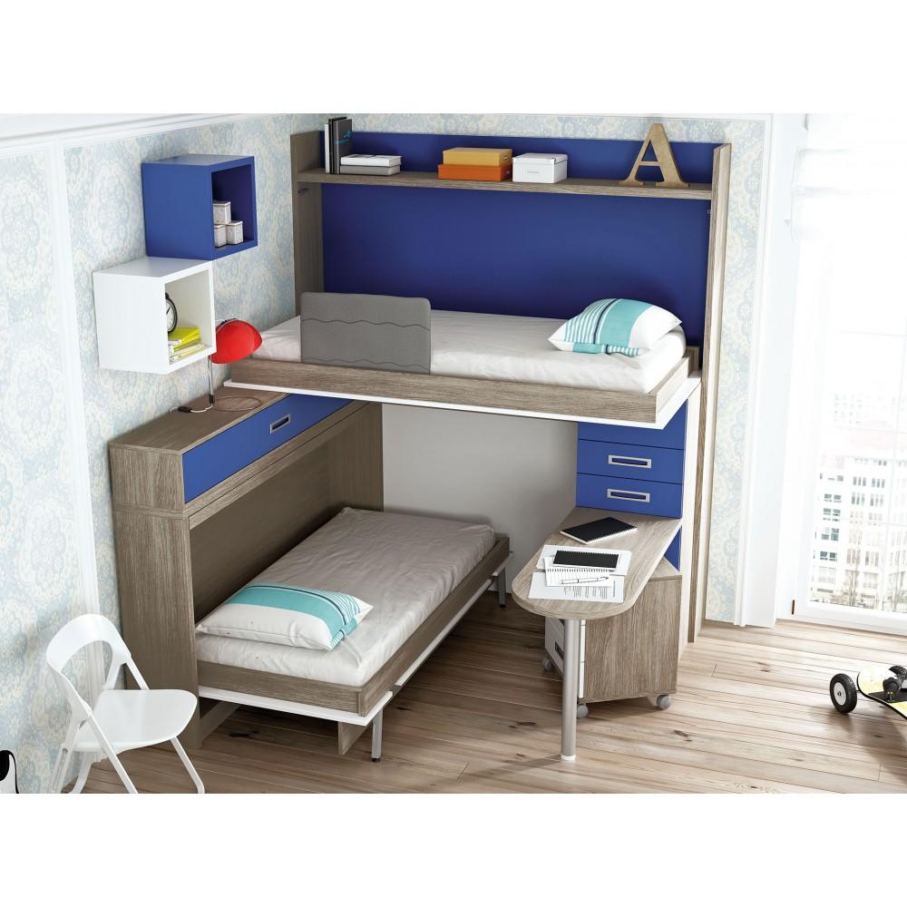 Dormitorio con literas escritorio miriam for Literas juveniles con escritorio